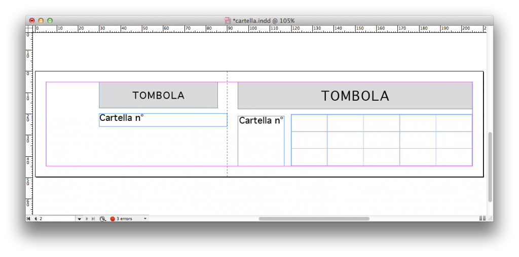 cartella tombola in InDesign